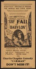 "Movie Posters:Drama, The Fall of Babylon (David W. Griffith Corp., 1919). Herald (4.75"" X 9""). . Drama.. ..."