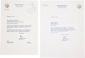 Movie/TV Memorabilia:Memorabilia, Two Ronald Reagan Signed Letters, 1970s....