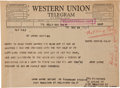 Movie/TV Memorabilia:Memorabilia, A Telegram to Nat King Cole, 1964....