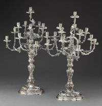 A MONUMENTAL PAIR OF ELIMEYER GERMAN SILVER FOURTEEN-LIGHT CANDELABRA Moritz Elimeyer, Dresden, Germany, circa 18