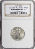 Errors: , 1920 25C Standing Liberty Quarter--Cracked Planchet at 9:30--AU58NGC....