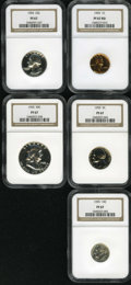 Proof Sets: , 1955 1C Proof Set PR67 NGC. An NGC certified set. Each coin grades PR67, and the cent is red.... (Total: 5 Coins)
