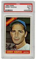 Baseball Cards:Singles (1960-1969), 1966 Topps Sandy Koufax #100 PSA NM 7 (ST). One of the greatsouthpaw pitchers in the history of the game, shown here with ...