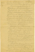 "Autographs:Non-American, Konstantin Tsiolkovsky Autograph Letter Signed ""Tsiolkovsky""in light pencil, two pages, 7"" x 10.75"", front and verso. K..."