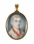 Fine Art - Painting, American:Antique  (Pre 1900), Charles Willson Peale (American, 1741-1827). . Jacob Morris(1755-1844). Watercolor on ivory. Inscription on back of...