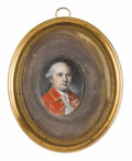 Fine Art - Painting, American:Antique  (Pre 1900), Charles Willson Peale (American, 1741-1827). . Sir HenryClinton (1738-1795). Watercolor on ivory. Unsigned. 1-1...
