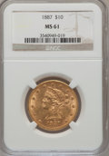 Liberty Eagles: , 1887 $10 MS61 NGC. NGC Census: (52/20). PCGS Population (20/26).Mintage: 53,680. Numismedia Wsl. Price for problem free NG...