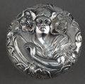 Silver Holloware, American:Other , AN UNGER BROS. SILVER BOTTLE STOPPER WITH FEMALE FIGURE PLAYINGTAMBOURINE . Unger Bros., Newark, New Jersey, circa 1900. Ma...