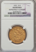 Liberty Eagles: , 1852 $10 --Improperly Cleaned--NGC Details. AU. NGC Census:(80/353). PCGS Population (52/74). Mintage: 263,106. Numismedia ...