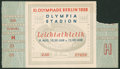 Olympic Collectibles:Autographs, 1936 Berlin Olympics Track and Field Ticket Stub....