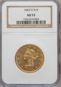 Liberty Eagles: , 1843-O $10 AU53 NGC. NGC Census: (61/123). PCGS Population (17/20).Mintage: 175,162. Numismedia Wsl. Price for problem fre...