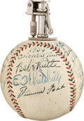 Autographs:Baseballs, 1934 Tour of Japan Team Signed Cigarette Lighter Baseball fromThe Lou Gehrig Collection....