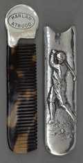 Silver Holloware, American:Vanity, AN UNGER BROS. SILVER GOLF CADDY COMB HOLDER AND COMB. Unger Bros.,Newark, New Jersey, circa 1900. Marks: (UB intertwined)...