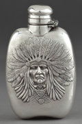 Silver Holloware, American:Flasks, AN UNGER BROTHERS SILVER INDIAN HEAD FLASK . Unger Bros., Newark,New Jersey, circa 1905. Marks: (UB intertwined), STERLIN...