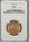 Liberty Eagles: , 1907-S $10 MS63 NGC. PCGS Population (17/12). Mintage: 210,500.Numismedia Wsl. Price for problem free N...