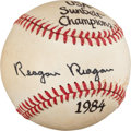 "Autographs:Baseballs, 1984 Ronald ""Reagan Reagan"" Single Signed Baseball...."
