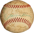Autographs:Baseballs, 1952 New York Yankees Team Signed Baseball with Joe DiMaggio &Marilyn Monroe, Kissed by Marilyn!...