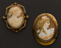 Estate Jewelry:Cameos, Two Gold Estate Cameos. ... (Total: 2 Items)