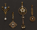 Estate Jewelry:Pendants and Lockets, Four Antique Pendants. ... (Total: 4 Items)