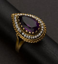 Estate Jewelry:Rings, Estate Gold & Amethyst & Pearl Ring. ...