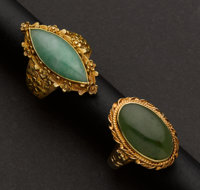 Two Gold Jadeite Rings
