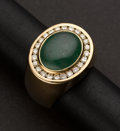 Estate Jewelry:Rings, Gent's Diamond & Jade Ring. ...