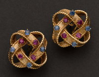 Ruby & Sapphire Gold Earrings