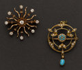 Estate Jewelry:Brooches - Pins, Two Antique Pins. ...