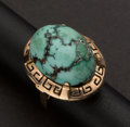 Estate Jewelry:Rings, Large Turquoise & Rose Gold Ring. ...