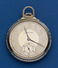Timepieces:Pocket (post 1900), Waltham 14k White Gold 17 Jewel 12 Size Pocket Watch. ...