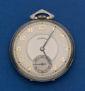 Timepieces:Pocket (post 1900), Illinois 14k White Gold Marquis Autocrat Pocket Watch. ...