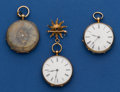 Timepieces:Pocket (pre 1900) , Three - Swiss Gold Key Wind Pocket Watches Two - 14k Gold One 18k Gold. ... (Total: 3 Items)