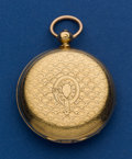Timepieces:Pocket (pre 1900) , Swiss 37 mm 18k Gold Key Wind Pocket Watch. ...