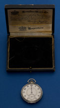 Timepieces:Pocket (post 1900), Hamilton White Gold Filled Grade 912 With Box. ...