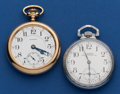 Timepieces:Pocket (post 1900), Two - Waltham's 16 Size 21 Jewel Models #1645 One Private Label Riverside Runners. ... (Total: 2 Items)
