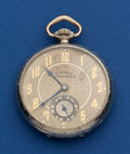 Timepieces:Pocket (post 1900), Hampden White Gold Filled 12 Size Fancy Dial Pocket Watch. ...