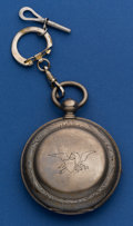 Timepieces:Pocket (post 1900), Tobias Silver Key Wind With An American Eagle Pocket Watch. ...