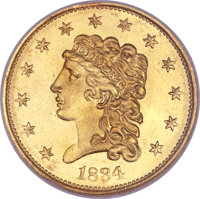 1834 $2 1/2 Classic MS66 ★ NGC. CAC. Small Head, Breen-6138, Variety-1, R.1....(PCGS# 7692)