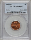 Lincoln Cents: , 1996-D 1C MS68 Red PCGS. PCGS Population (201/6). NGC Census:(53/0). Numismedia Wsl. Price for problem free NGC/PCGS coin...