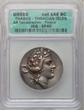 Ancients:Greek, Ancients: ISLANDS OFF THRACE. Thasos. Ca. 168/7-148 BC. ARtetradrachm (16.70 gm). ...
