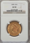 Liberty Eagles: , 1878 $10 AU58 NGC. NGC Census: (134/199). PCGS Population (48/106).Mintage: 73,700. Numismedia Wsl. Price for problem free...