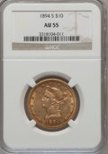 Liberty Eagles: , 1894-S $10 AU55 NGC. NGC Census: (30/57). PCGS Population (20/18).Mintage: 25,000. Numismedia Wsl. Price for problem free ...