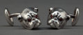Estate Jewelry:Cufflinks, A PAIR OF UNGER BROTHERS SILVER BULLDOG CUFFLINKS . Unger Bros.,Newark, New Jersey, circa 1880. Marks: (UB intertwined) S...(Total: 2 Items)