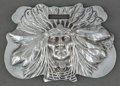 Silver Holloware, American:Vanity, AN UNGER BROS. SILVER INDIAN HEAD LUGGAGE TAG . Unger Bros.,Newark, New Jersey, circa 1905. Marks: (UB intertwined)STER...