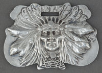 AN UNGER BROS. SILVER INDIAN HEAD LUGGAGE TAG Unger Bros., Newark, New Jersey, circa 1905 Marks: (UB intertwi