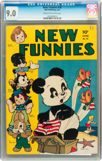 New Funnies #76 (Dell, 1943) CGC VF/NM 9.0 Cream to off-white pages
