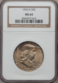 Franklin Half Dollars: , 1952-D 50C MS64 NGC. NGC Census: (367/265). PCGS Population(558/94). Mintage: 25,395,600. Numismedia Wsl. Price for proble...