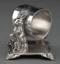 Silver Holloware, American:Napkin Rings, AN AMERICAN SILVER-PLATED FIGURAL NAPKIN RING . Maker unknown,American, circa 1875. 3 inches high (7.6 cm). 5.8 ounces (gro...
