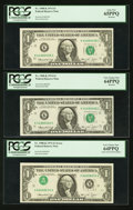 Error Notes:Inverted Third Printings, Fr. 1908-K $1 1974 Federal Reserve Notes. Three ConsecutiveExamples. PCGS Very Choice New 64PPQ-Gem New 65PPQ.. ... (Total: 3notes)