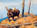 Western:Modern, LUKE FRAZIER (American, b. 1970). Shrias Moose - Wyoming .Oil on panel . 13-1/2 x 17-1/2 inches (34.3 x 44.5 cm). Signe...